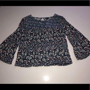Lucky brand blue floral top shirt blouse XL boho